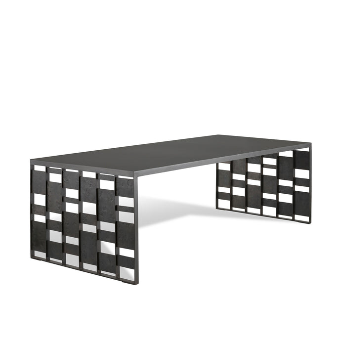 Stagger Slat Table, Blacked Steel Table with forged steel panels