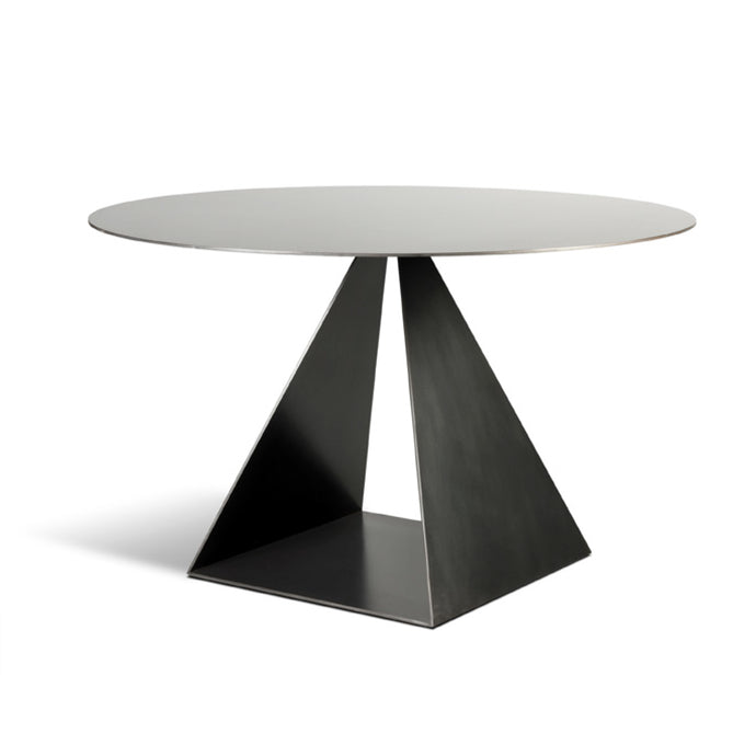 Trillion Table, Modern open pyramid table base with blackened steel finish and top
