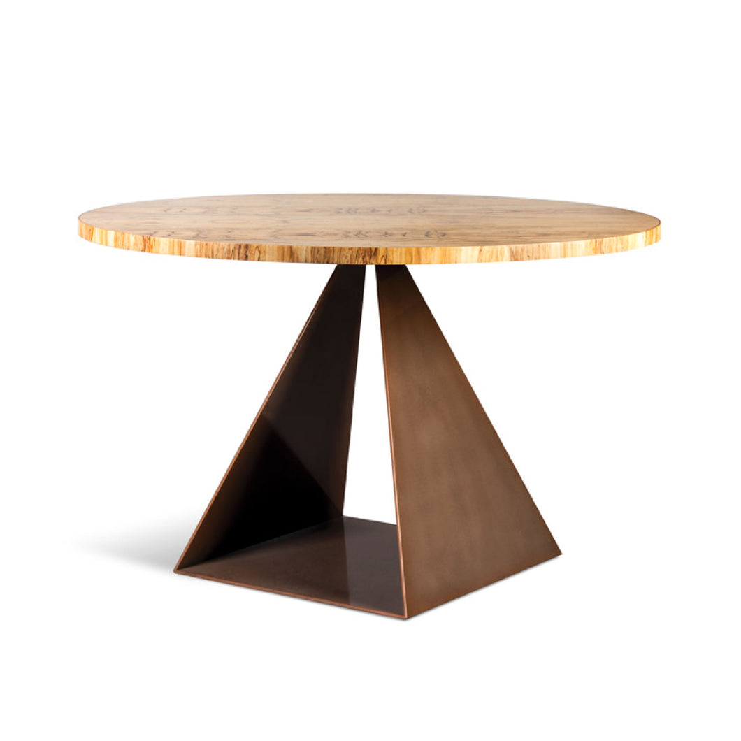 Trillion Table, Modern open pyramid table base with copper powder coat finish and spalted maple top
