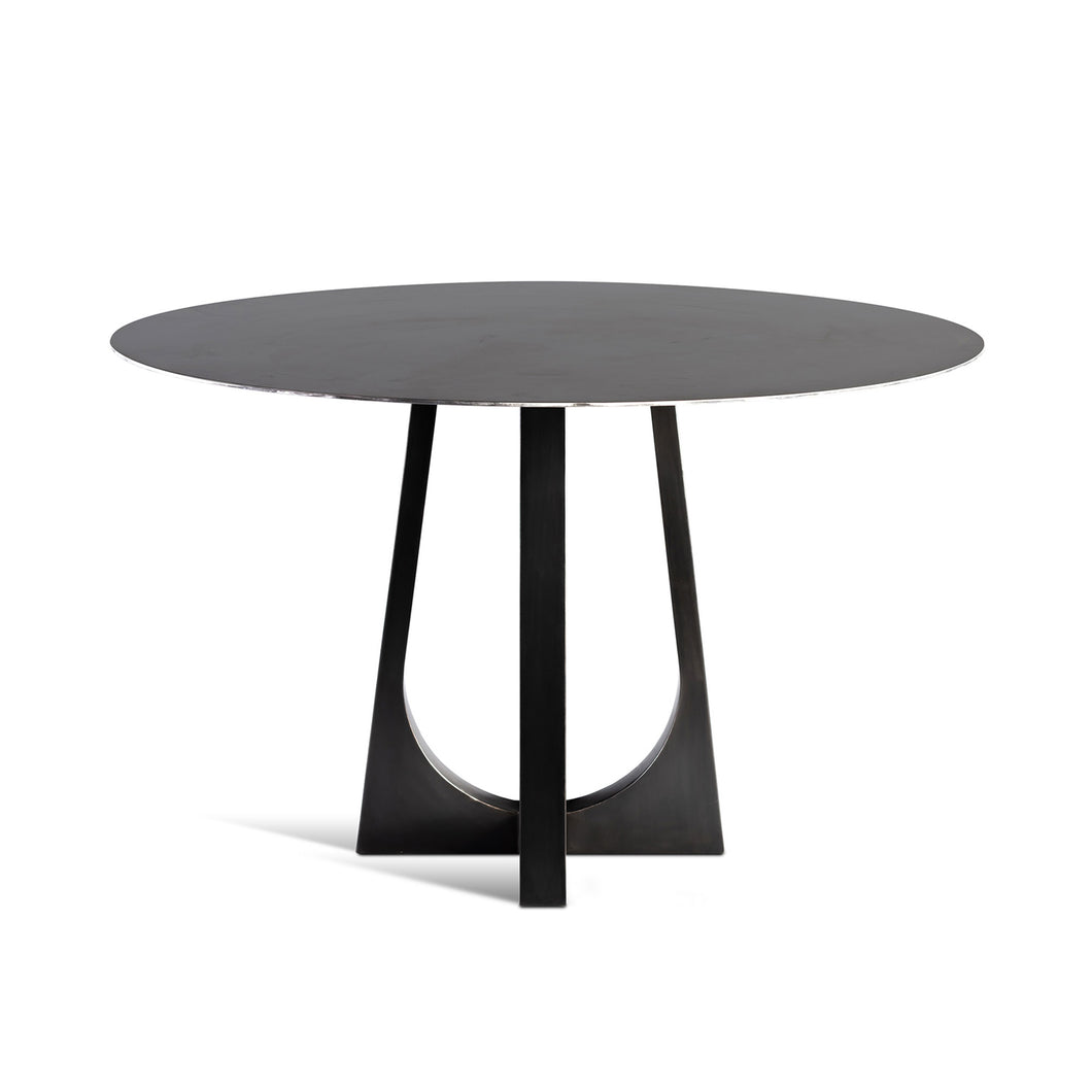 Vega Table, blackened steel bistro table with round top