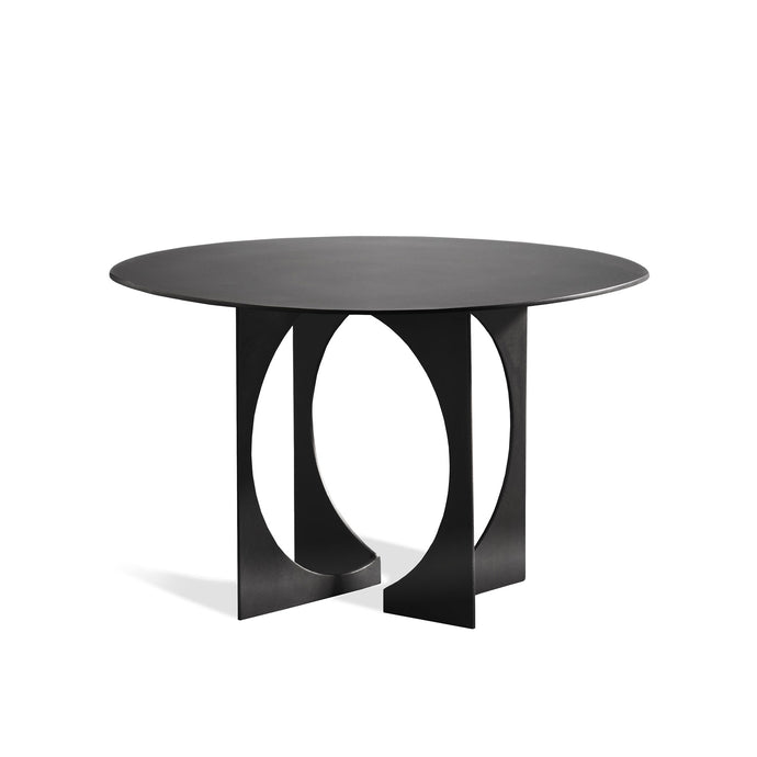 Vance Table, contemporary blackened steel table with deco influences