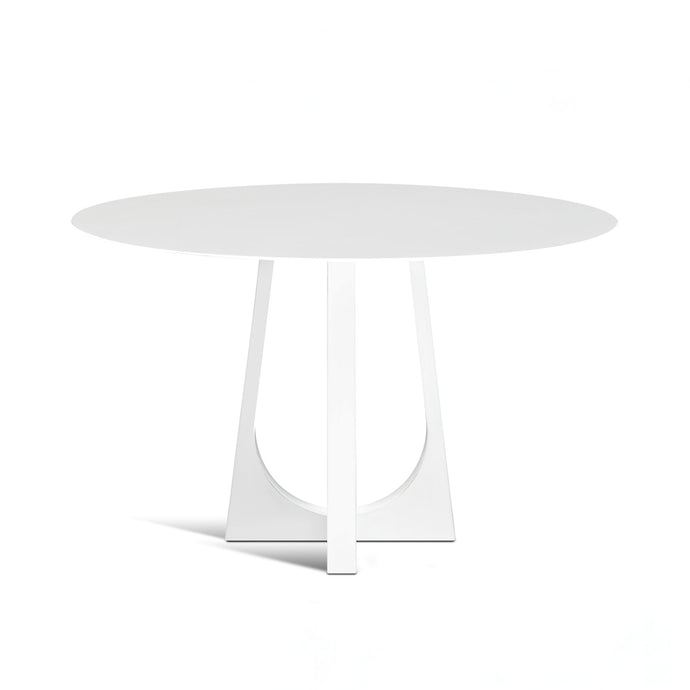 Vega Table, white powder coated bistro table with round top