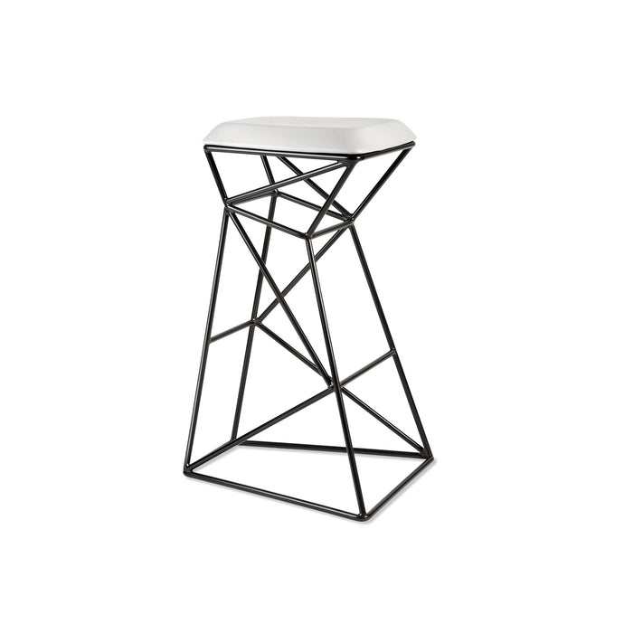 Web Stool, open wire blackened steel frame stool with upholstered seat