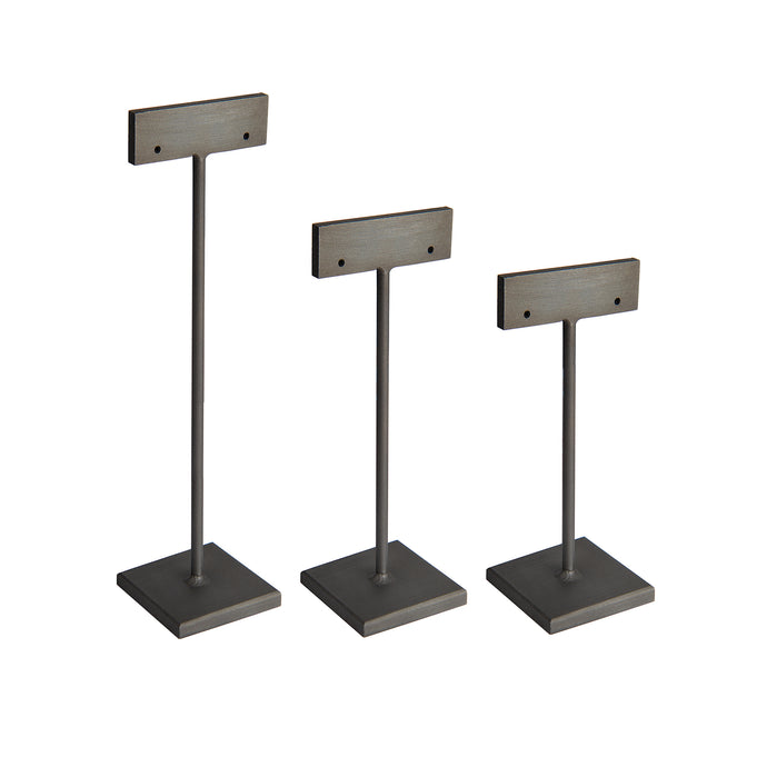 Slate Earring Stands, blackened steel earring stands for jewelry display