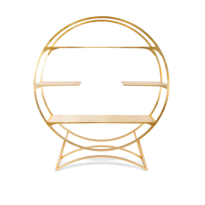 Orb, Gold-leafed circular open shelving unit