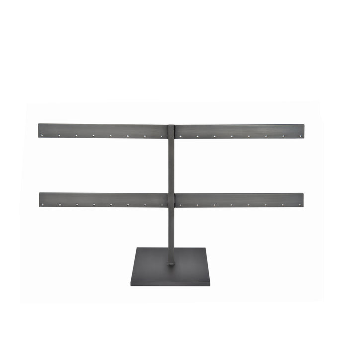 Slate Stud Earring Stand front view, blackened steel earring stand for jewelry display