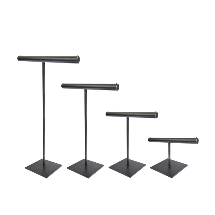 Slate T-Bar Stands in all sizes, blackened steel stands for jewelry display