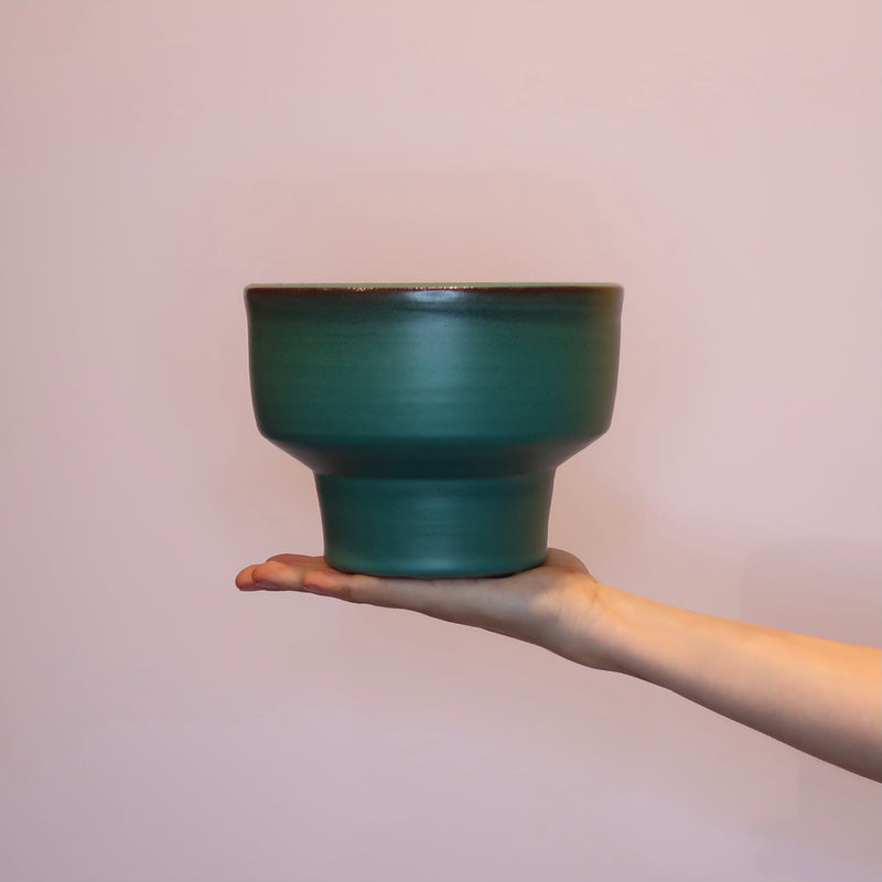 Emerald Ceramic Pot 17x13cm - Green