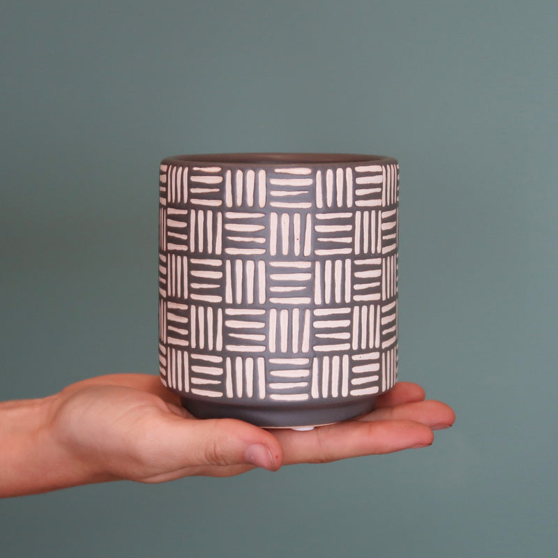 Basketweave Pot - Grey (XS)