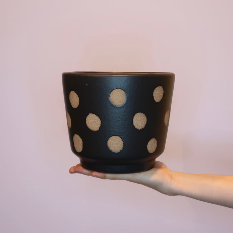 Benji Ceramic Pot - Black/Natural (M)