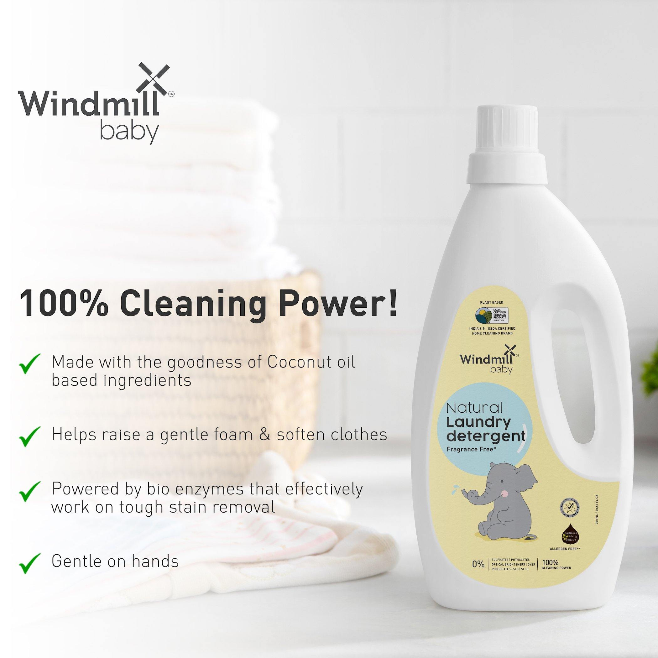 Natural Laundry Detergent Fragrance Free - Windmill Baby