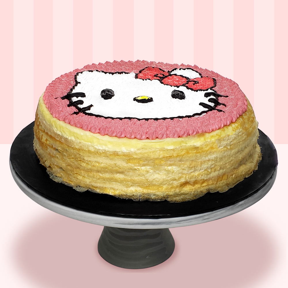 Hello Kitty Mille Crepe Cake (2D)-2D Cartoon Mille Crepe Cake-YippiiGift - Online Cake Delivery