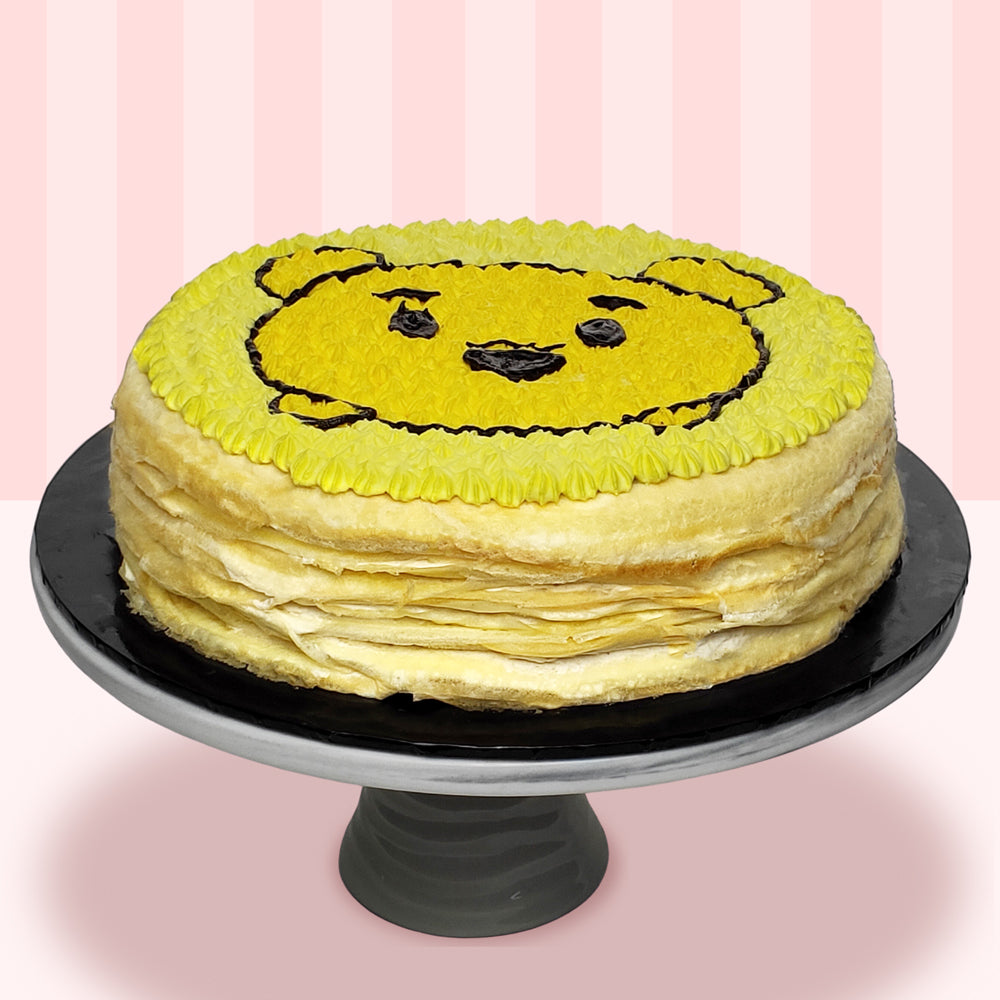 Winnie The Pooh Mille Crepe Cake (2D)-2D Cartoon Mille Crepe Cake-YippiiGift - Online Cake Delivery