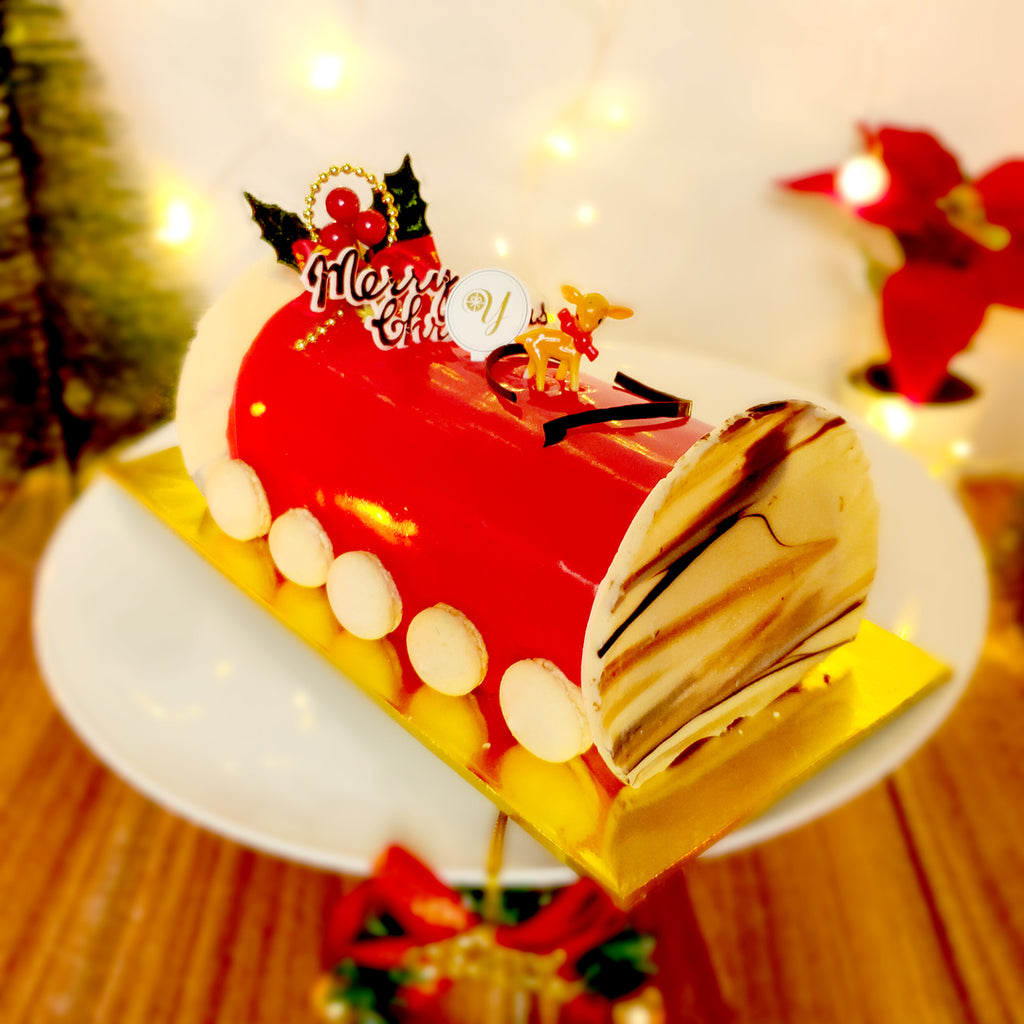 "Luscious Red Velvet Yule Log Cake 6""-Christmas Log Cake-YippiiGift - Online Cake Delivery"