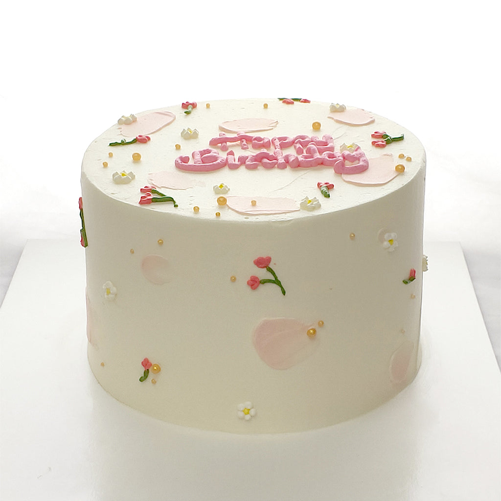 Birthday Floral Cake-Korean Minimalist Cake-YippiiGift - Online Cake Delivery