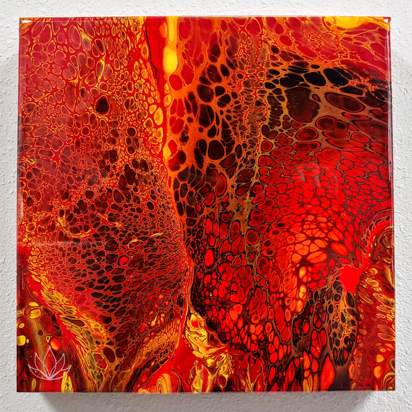 """Kilauea"" painting by Mike Palmer - 12""x12"" acrylic pour"