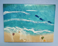 """Day at the Beach"" large beach scene by Mike Palmer - 18""x24"" acrylic sculpture"