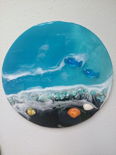 """Beach Scene with Dolphins"" black sand version by Mike Palmer - 12"" round acrylic sculpture"
