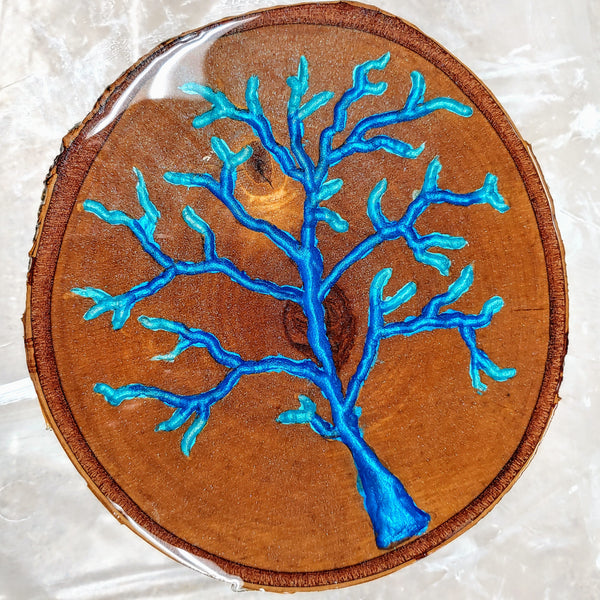 """Blue Metallic Tree"" by Mike Palmer - 8"" birch round"