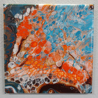 """Gourami"" painting by Mike Palmer - 12""x12"" acrylic pour"