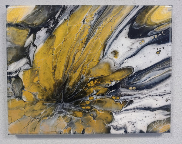 """Golden Blossom"" painting by Mike Palmer - 11""x14"" acrylic pour"