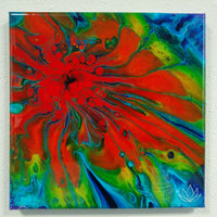 "SOLD - ""Rainbow Burst"" painting by Mike Palmer - 12""x12"" acrylic pour"