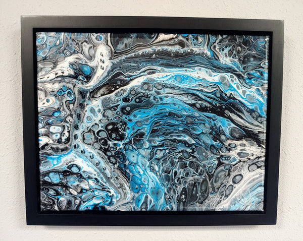 "SOLD - ""Aqua Galaxy"" painting by Mike Palmer - 11""x14"" acrylic pour - framed"