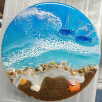 """Beach Scene with Dolphins"" by Mike Palmer - 12"" round resin pour sculpture"
