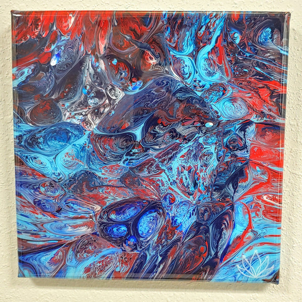 """Calypso"" painting by Mike Palmer - 10""x10"" acrylic pour"