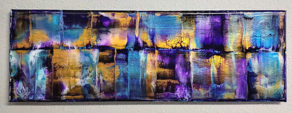 "SOLD - ""Cascades"" painting by Mike Palmer - 8""x24"" acrylic pour - metallic"