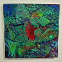 "SOLD - ""Cosmic Playground"" painting by Mike Palmer - 12""x12"" acrylic pour"