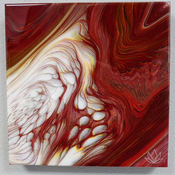 """Intension"" painting by Mike Palmer - 12""x12"" acrylic pour"