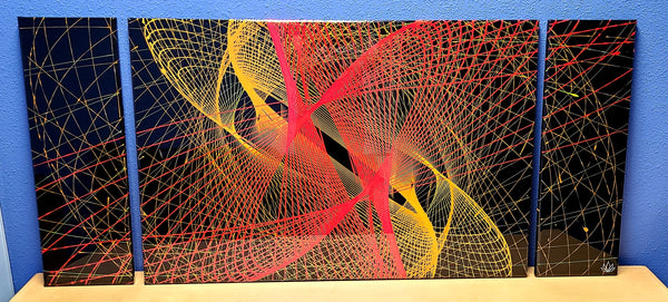 """Parabola"" pendulum pour painting by Mike Palmer - 24""x56"" tri-panel"