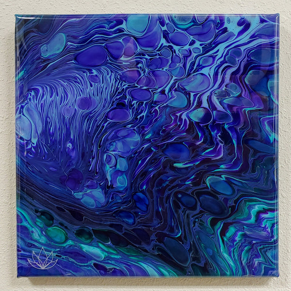 "SOLD - ""Poseidon"" painting by Mike Palmer - 12""x12"" acrylic pour"