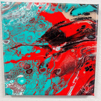 """Rock Lobster"" painting by Mike Palmer - 10""x10"" acrylic pour"