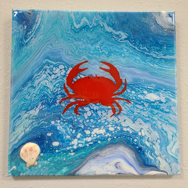 """Sea Crab"" original painting by Mike Palmer - 12""x12"" acrylic pour"