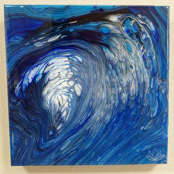 "SOLD - ""Tempest"" painting by Mike Palmer - 12""x12"" acrylic pour"