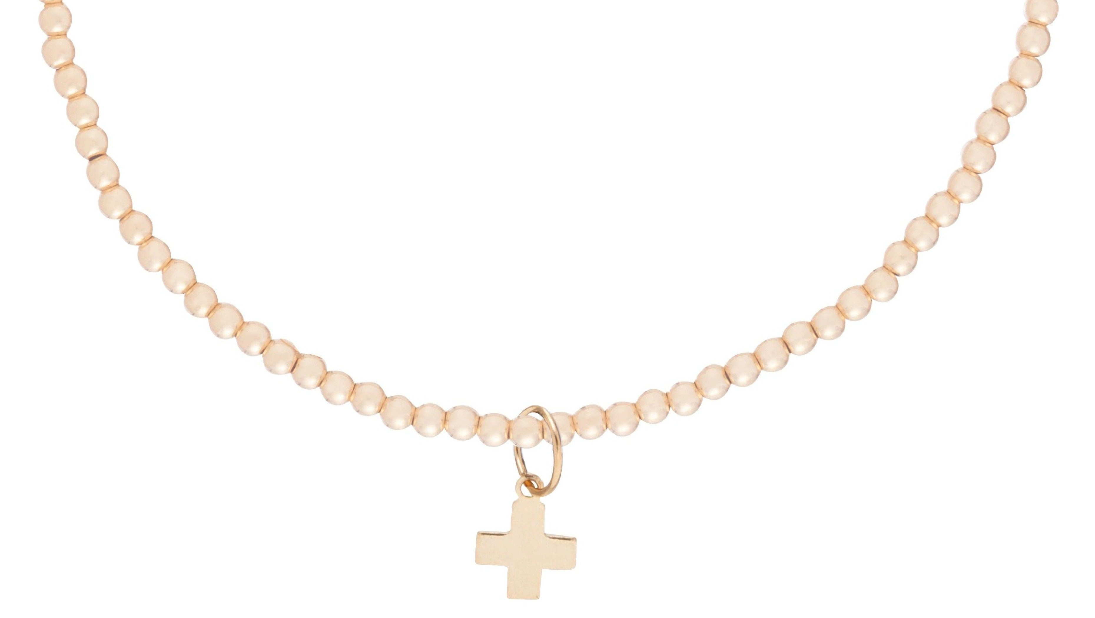 Choker Classic Gold 2mm Bead - Signature Cross Gold Charm