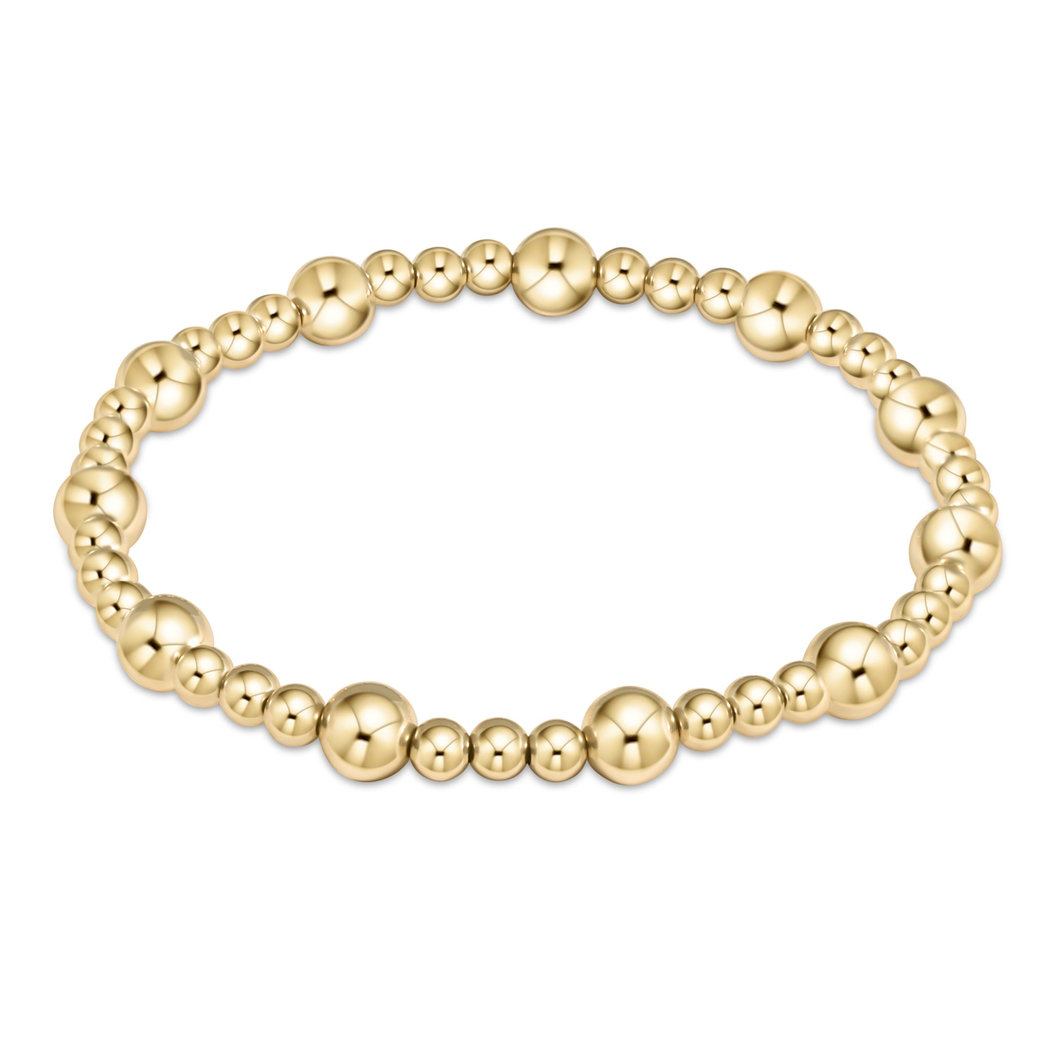 Classic Sincerity Pattern 6mm Bead Bracelet - Gold
