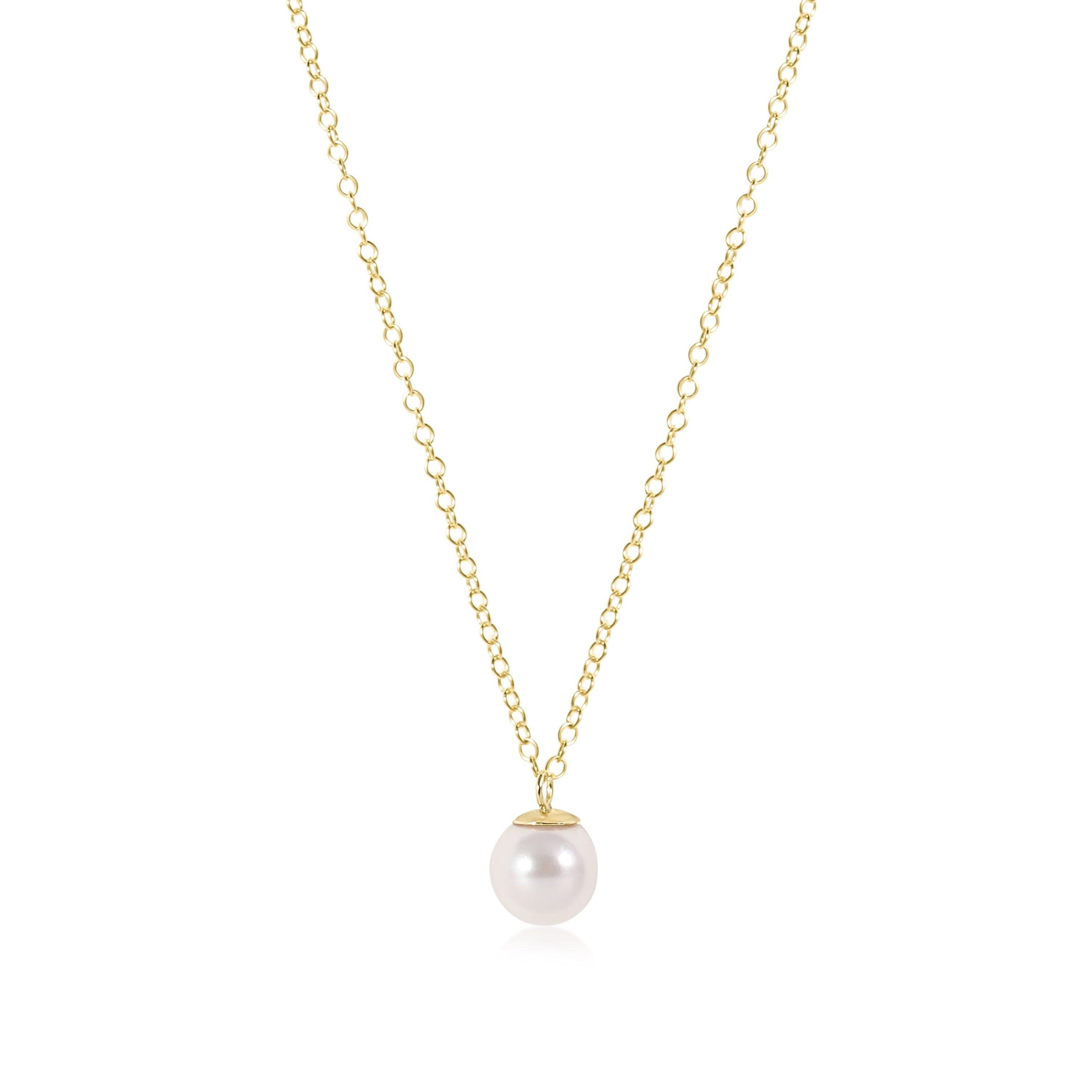 "16"" necklace gold - clarity pearl charm"