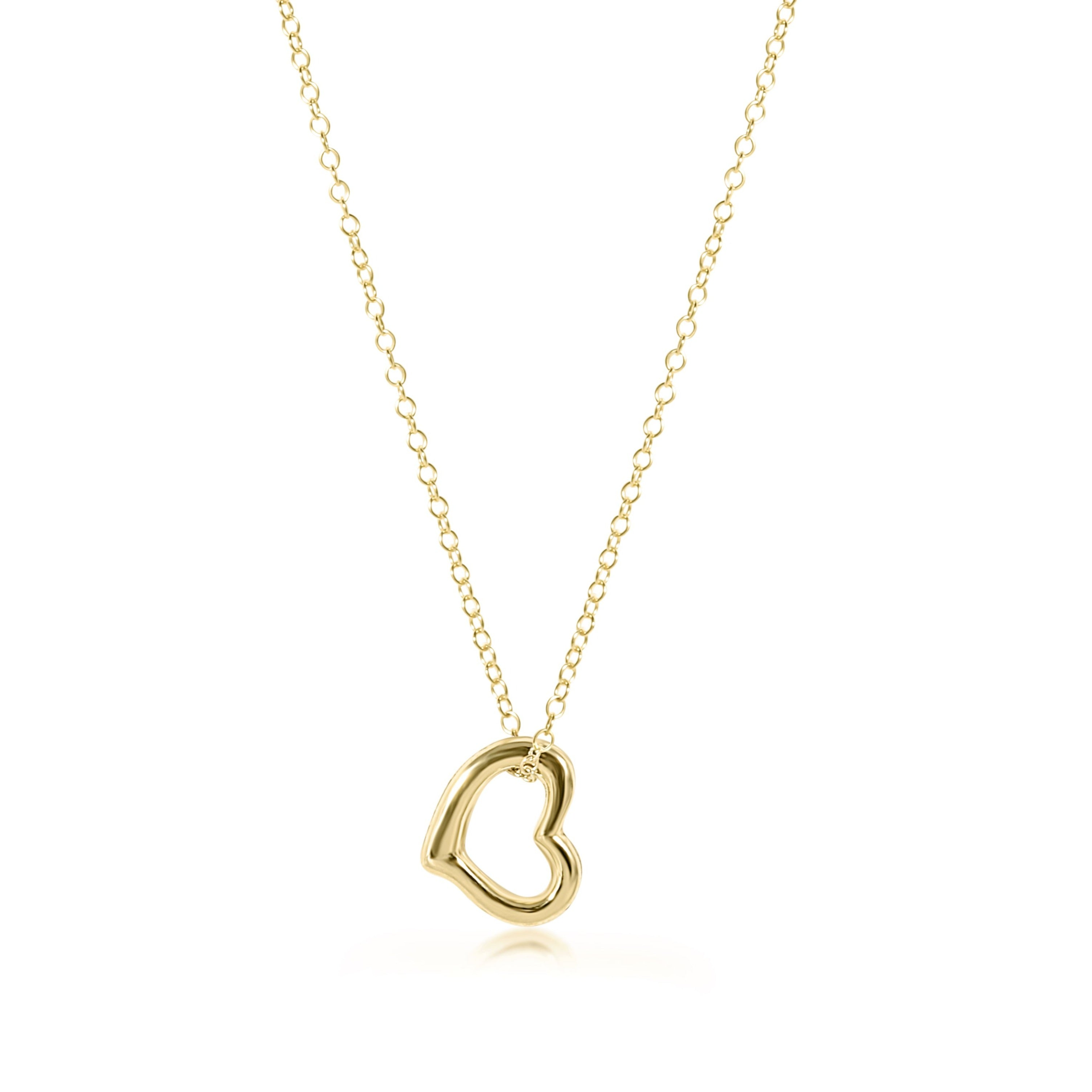 "16"" Necklace Gold - Love Gold Charm"