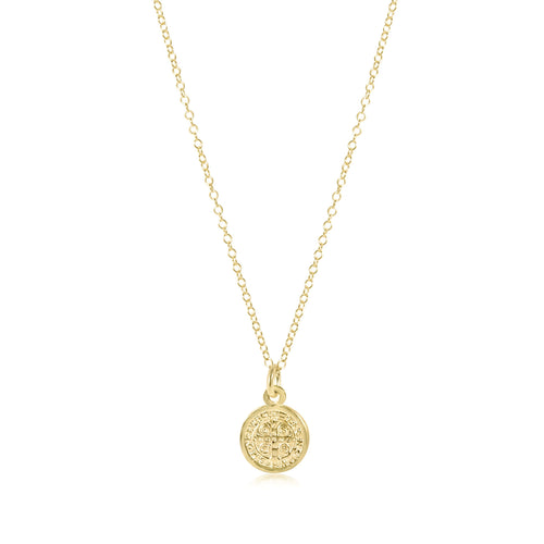 "16"" necklace gold - blessing small gold charm"