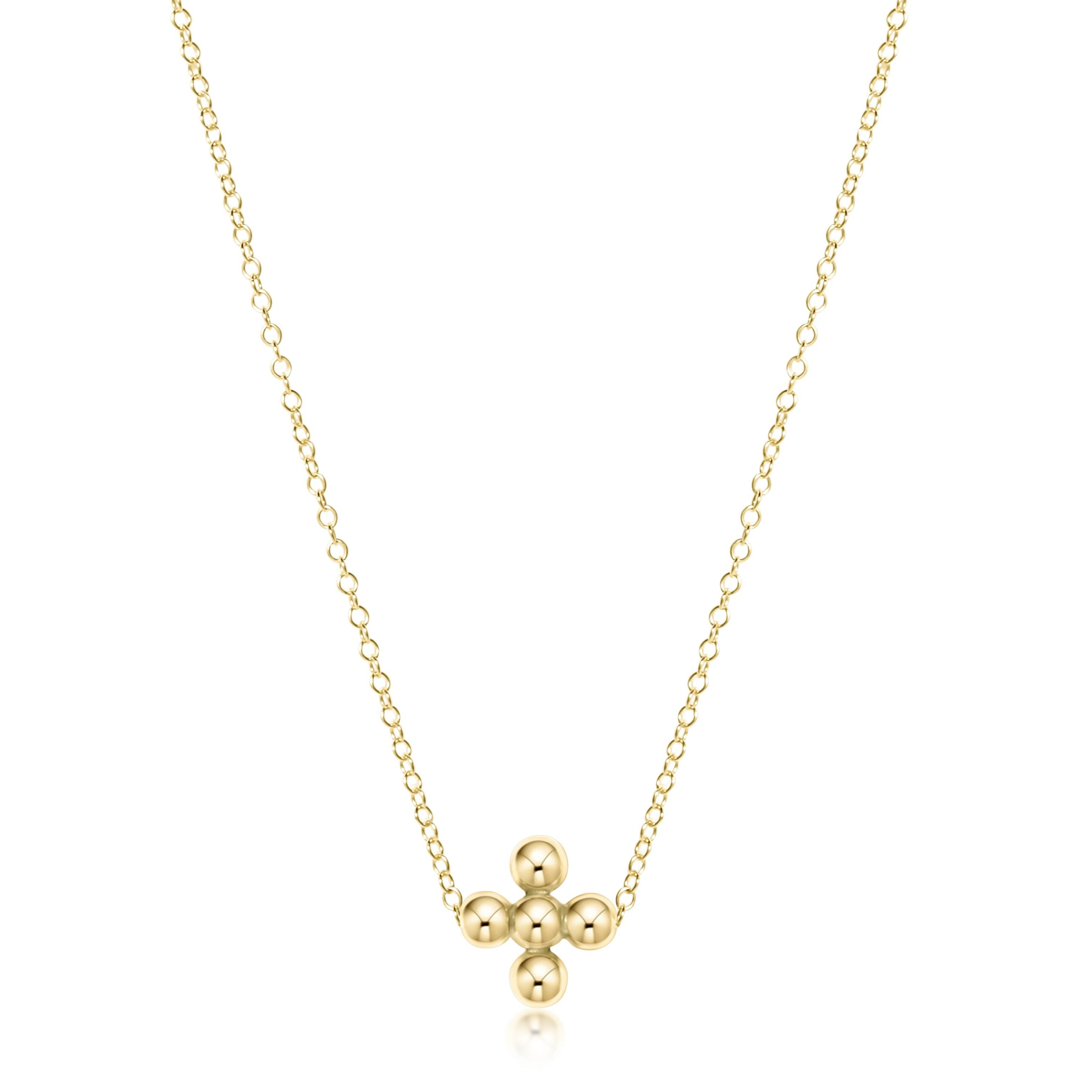 "16"" Necklace Gold - Classic Beaded Signature Cross Gold - 3mm Bead Gold"