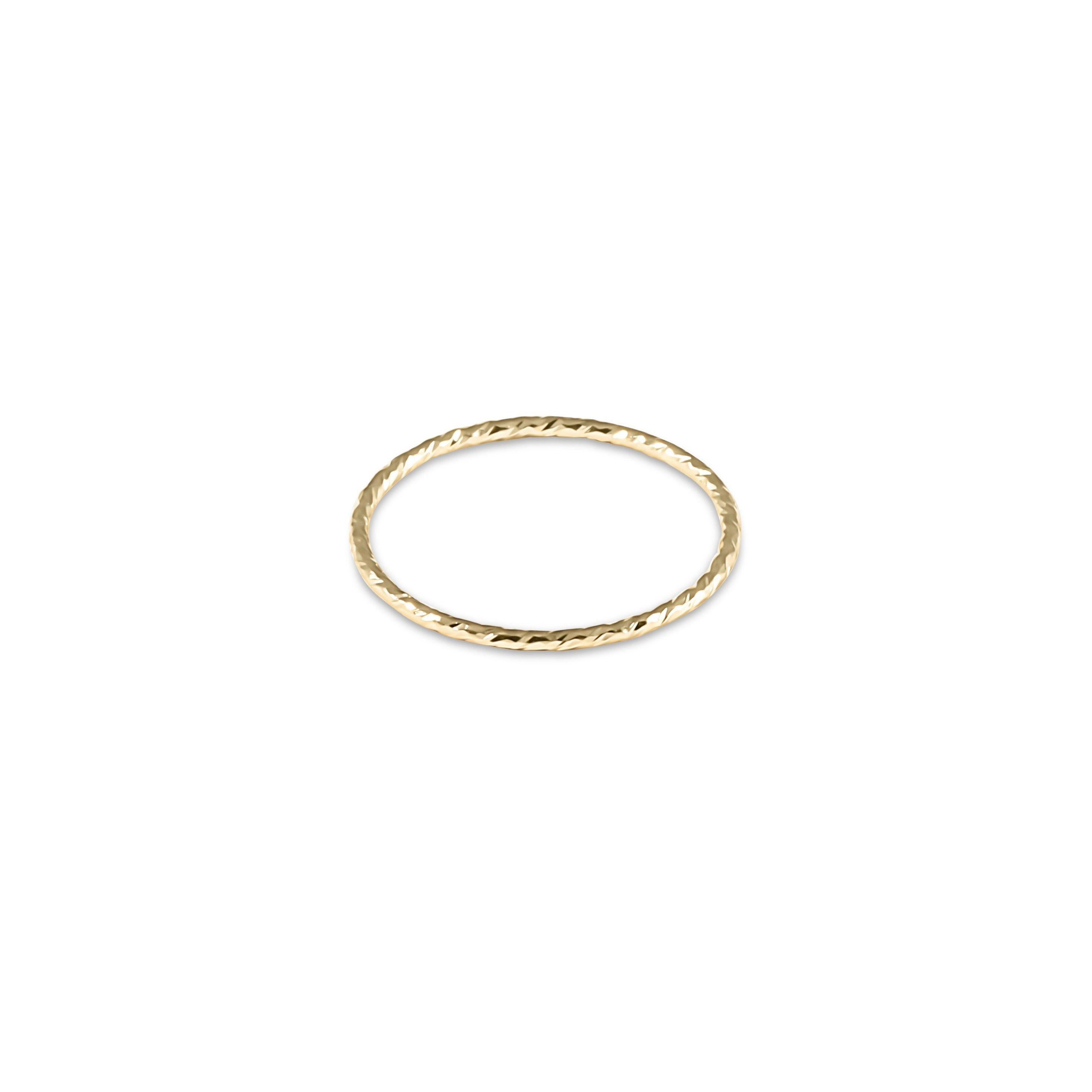 Classic Gold Thin Band Textured Ring