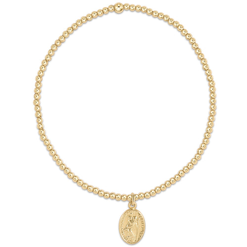 Classic Gold 2mm Bead Bracelet - Protection Small Gold Charm
