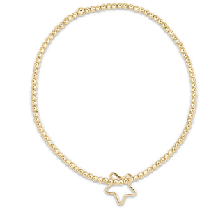 Classic Gold 2mm Bead Bracelet - Star Gold Charm