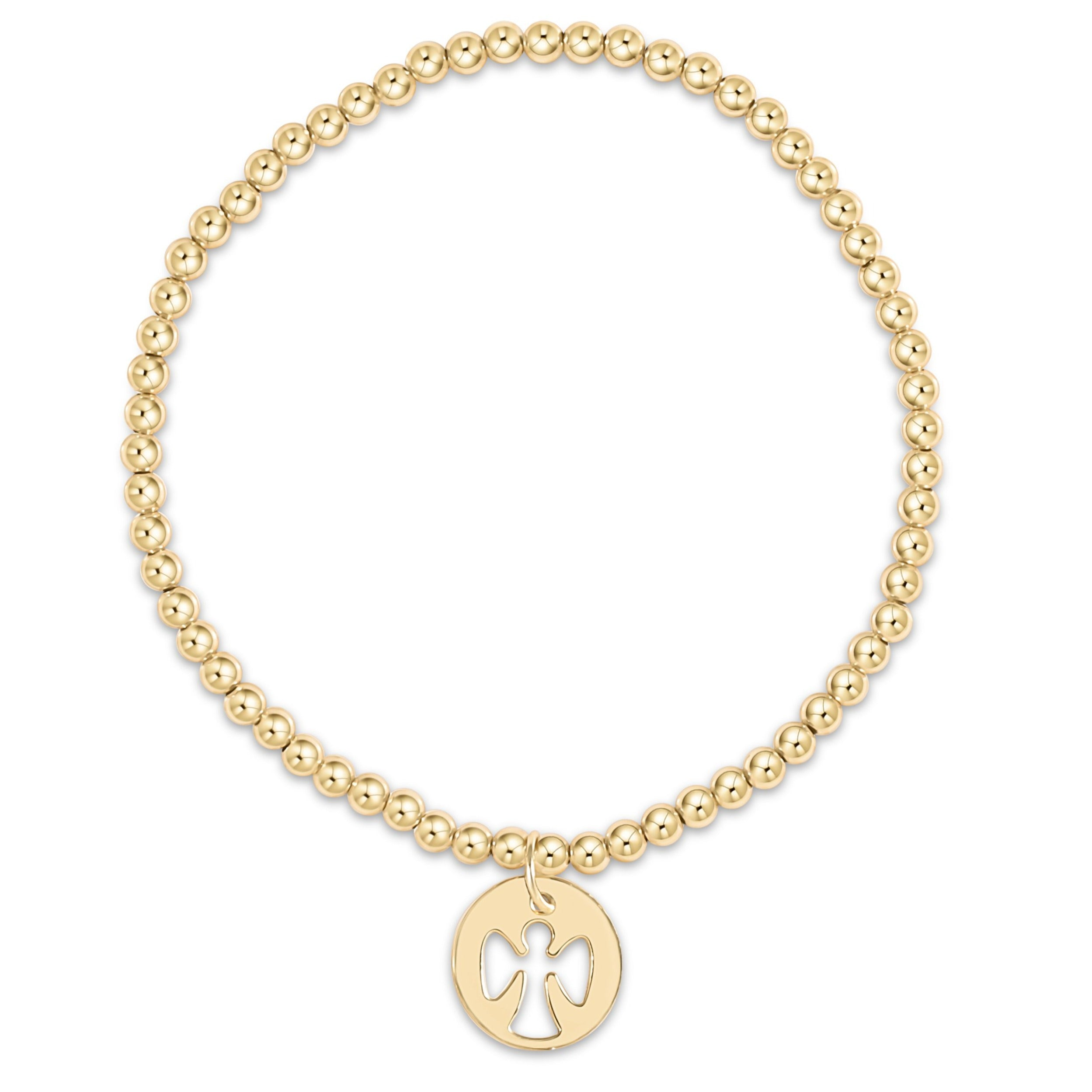 classic gold 3mm bead bracelet - guardian angel charm