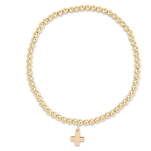 enewton extends - classic gold 3mm bead bracelet - signature cross gold charm