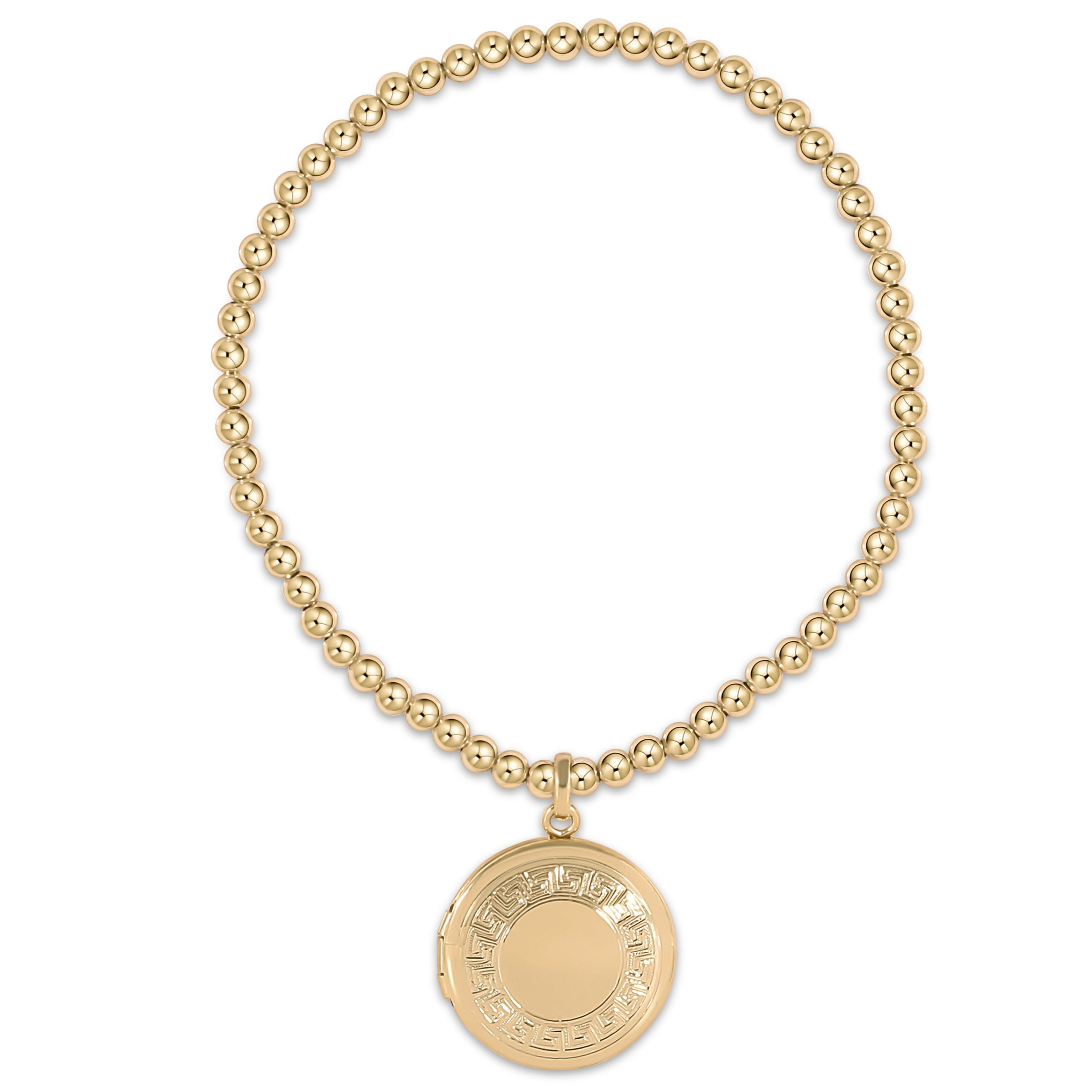 Classic Gold 3mm Bead Bracelet - Cherish Small Gold Locket