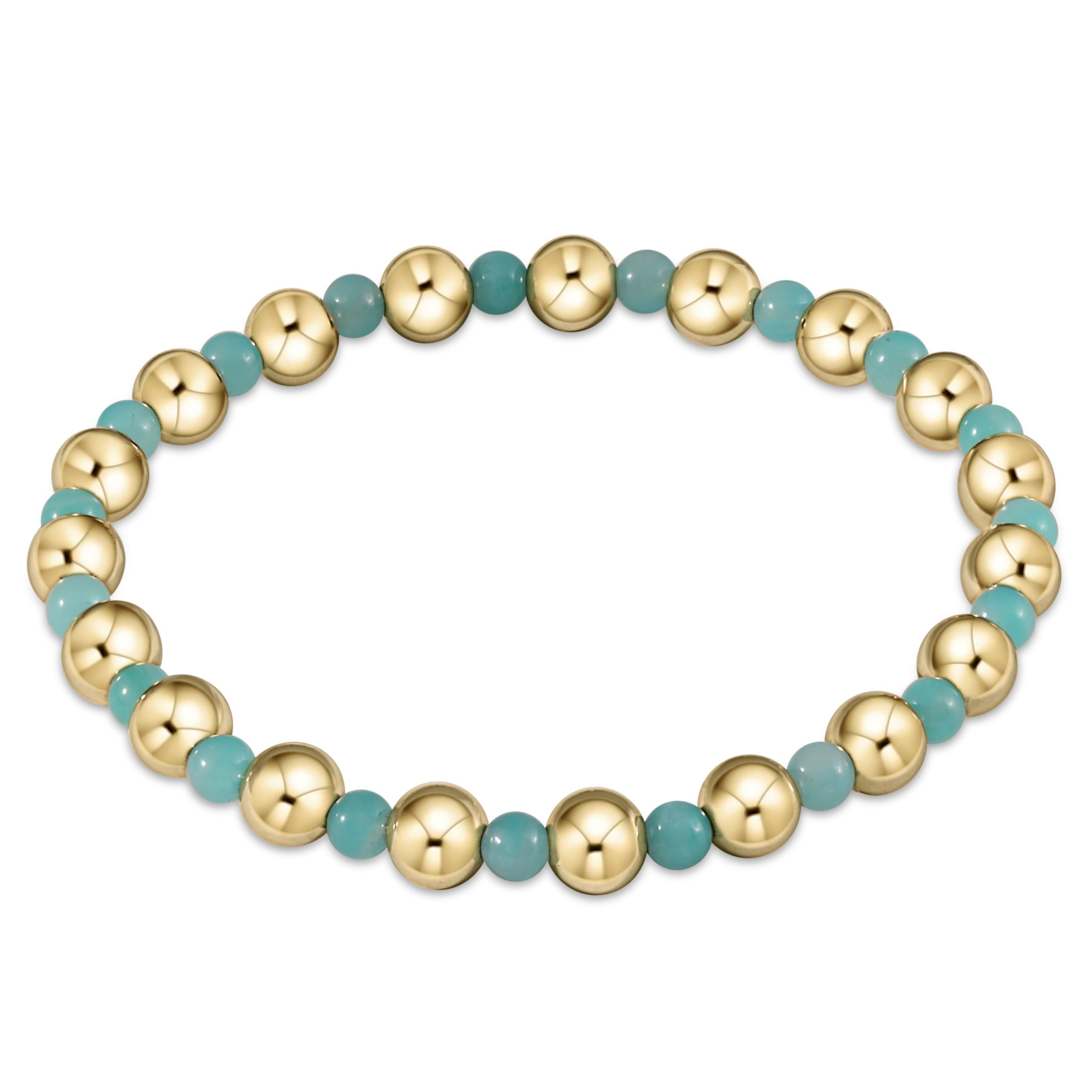 Gold Grateful Pattern 6mm Bead Bracelet